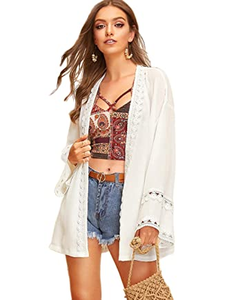 f7823284a Milumia Women's Open-Front Floral Crochet Mesh Beach Bikini Kimono Cover Up Cardigan  White-