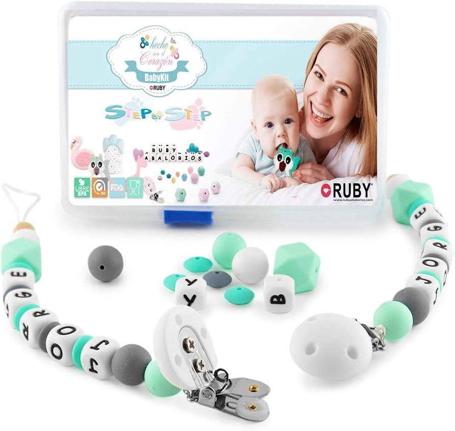 RUBY - Kit 2 pcs Chupetero con nombre personalizado con pinza y bola silicona antibacteria para bebe. Envío urgente gratis (Turquesa Pastel)
