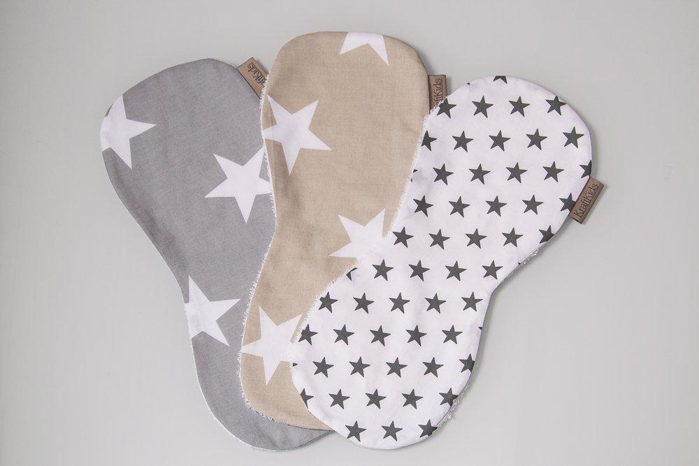 KraftKids Spucktuch graue Sterne auf Weiss und gro/ße wei/ße Sterne auf Beige und gro/ße wei/ße Sterne auf Grau 3er Set Sterne