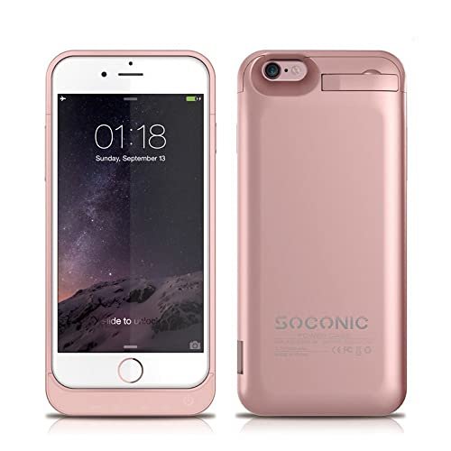 [With A Screen Protector] iPhone 6 Battery Case Soconic 5800mAh Extended Charging Case for iPhone 6 / iPhone 6s 4.7 inch Power Bank Battery Charger Case Rechargeable Juice Pack , Rose Gold