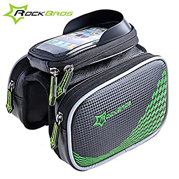 "RockBros Bike Frame Pannier Tube Bag Head Bag With 5.8/"" Touch Screen Phone Bag"