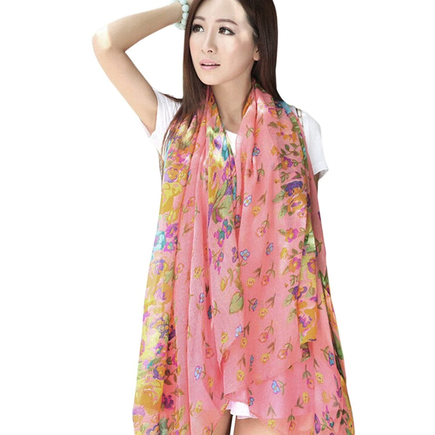 Fashionable woman lady girl shawls scarf print flowers cotton scarf