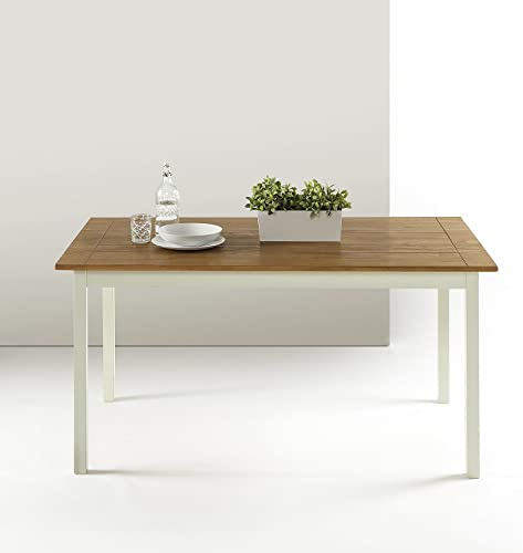 Zinus Angela Provence Drop Leaf Wood Dining Table Turned Legs Light-Grey and Natural