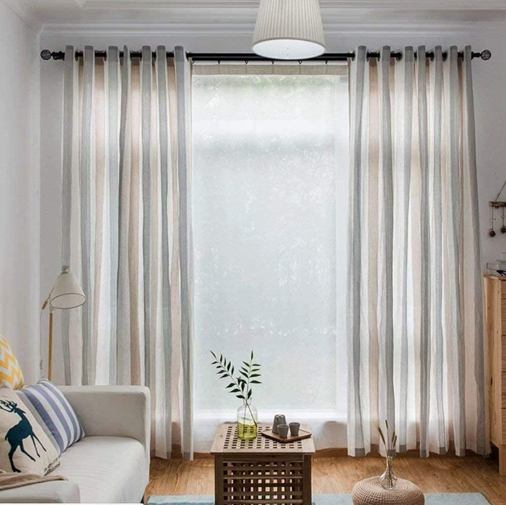 Leadtimes Special price for a limited time Philadelphia Mall Grey Stripe Sheer Curtains Decorative Bedroom Gr Linen