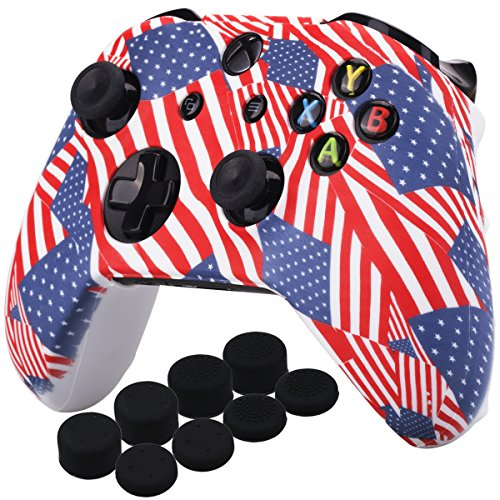 (YoRHa Printing Rubber Silicone Cover Skin Case for Xbox One S/X Controller x 1(US flag) With PRO Thumb Grips x 8)