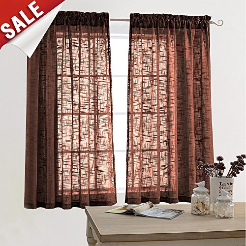 Window Linen Look - Linen Look Sheer Window Curtains for Living Room Curtain 63 inch Length Window Treatment for Bedroom,(2 Panels, Brown)