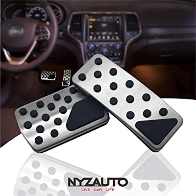 NYZAUTO Non-Slip Foot Pedal Pads for 2011-2020 Jeep Grand Cherokee & Dodge Durango,Auto No Drilling Aluminum Brake and Accelerator Pedal Covers: Automotive