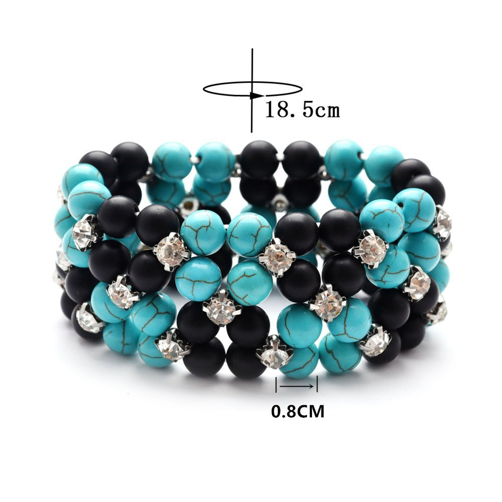 SIVITE Multilayer Turquoise Black Matte Agate Beads Bracelet with Rhinestone Boho Bangle for Women Girls