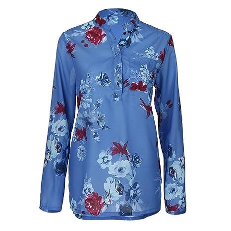Mujer blusa elegantes,Sonnena ❤ Camisa de gasa mujer talla grande Blusa de manga
