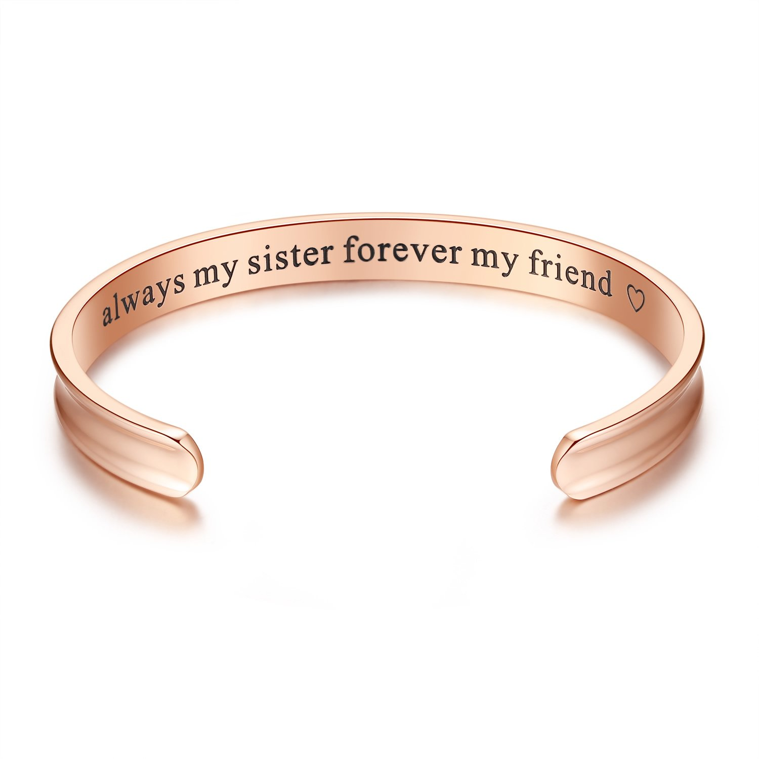 'Always my sister forever my friend' Grooved Cuff Bangle Bracelet, Sister Gift, Jewelry Gifts for women, Sister, Girls, Birthday, Friendship, Thanksgiving, Christmas, Anniversary Day Gift (Rose gold)