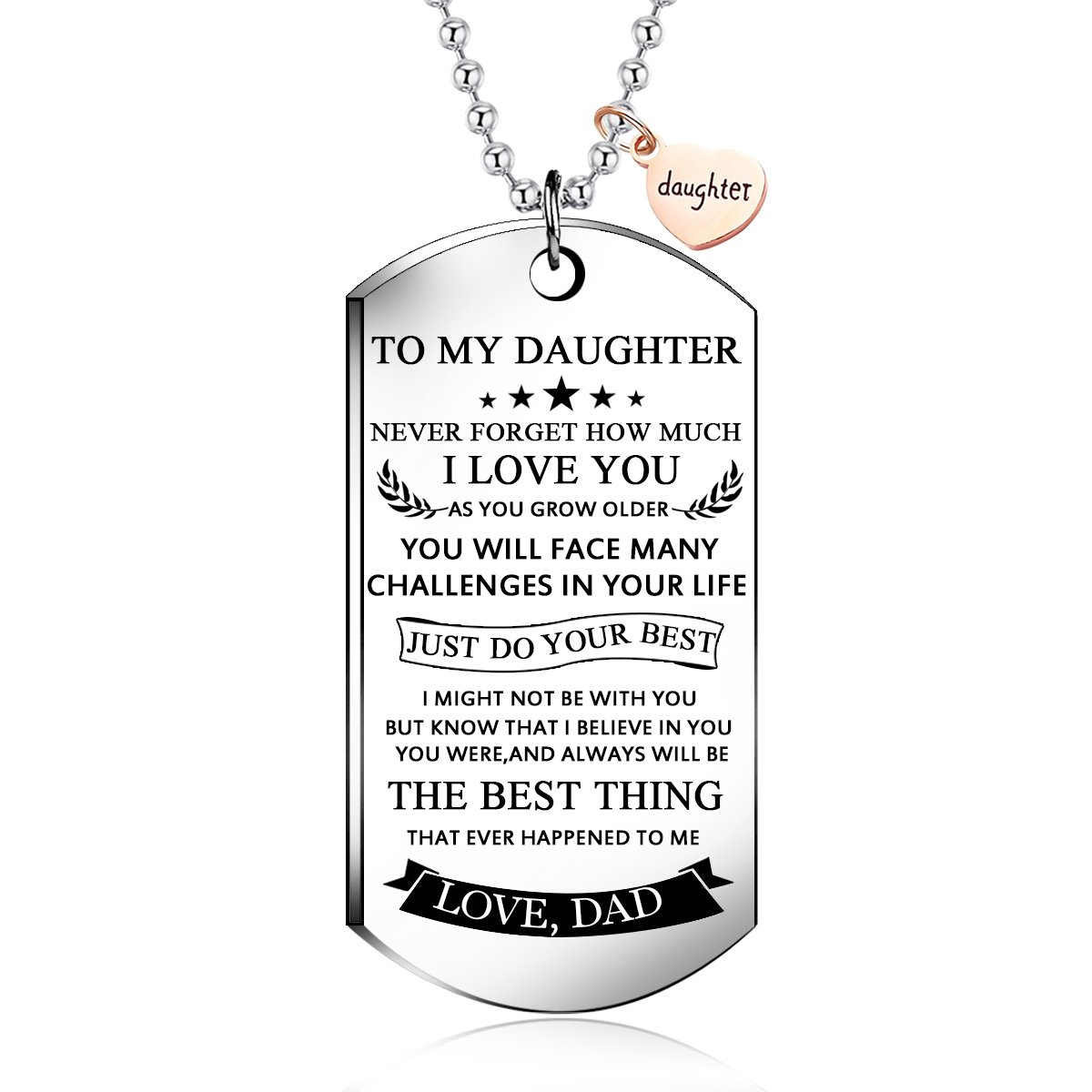 NOVLOVE To my daughter from dad Stainless Steel Dog Tag Letters To my daughter never forget how.love dad Pendant Necklace,Inspirational Gifts For daughter Jewelry