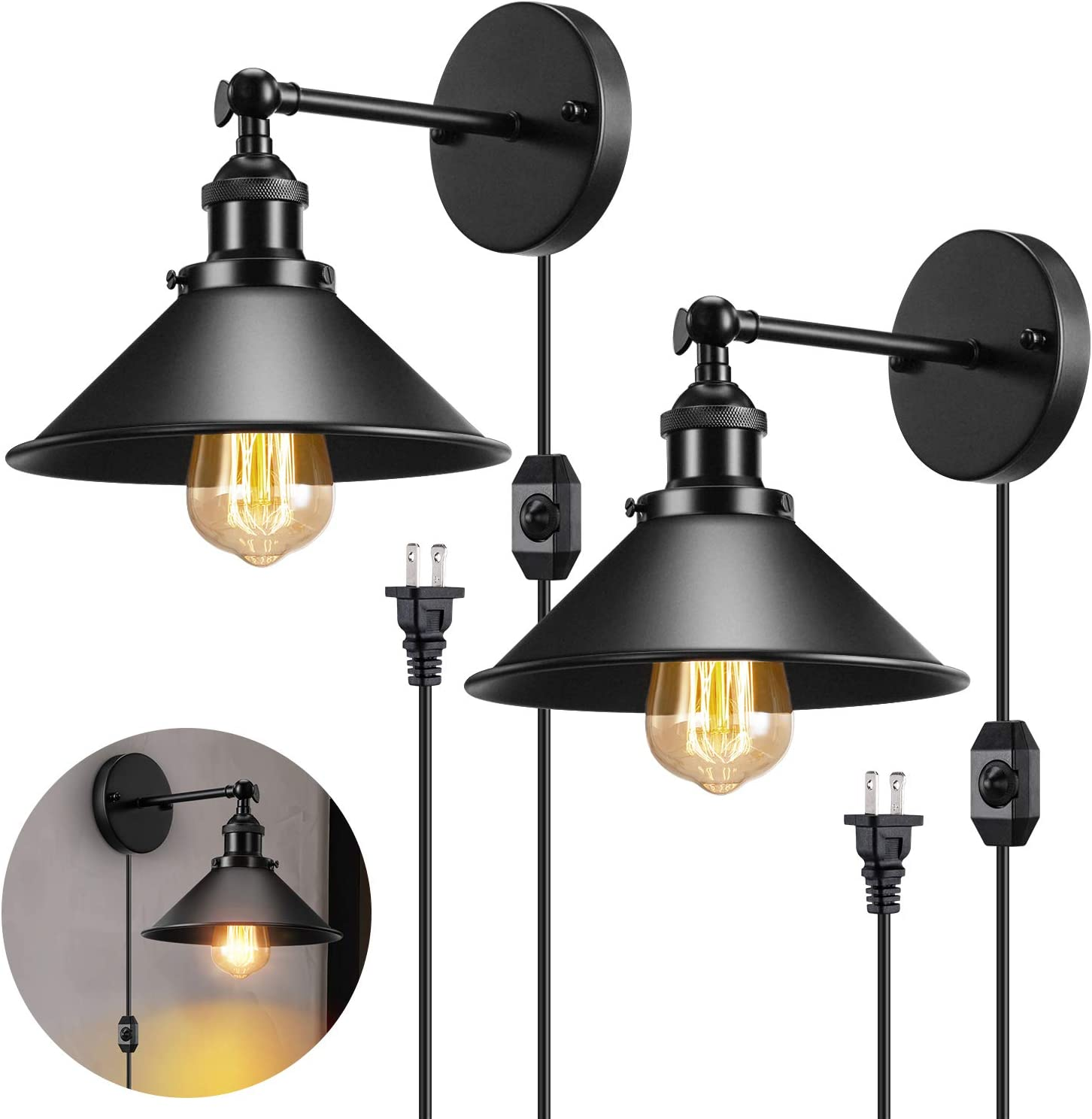 Industrial Plug in Wall Light, Vintage Wall Sconce with 5.9 Ft Plug in Cord, Matte Black Wall Sconce Plug in Light Fixture for Headboard Bedroom Porch 2 Pack