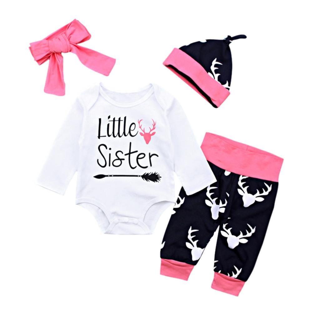ANBOO 3pcs Newborn Baby Romper, Letter Romper Jumpsuit Camouflage Pants Headband Set