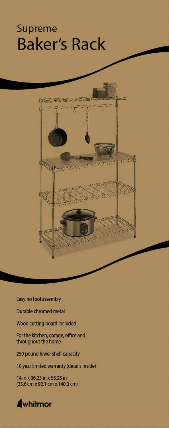Whitmor Supreme Baker's Rack with Food Safe Removable Wood Cutting Board - Chrome: Home & Kitchen