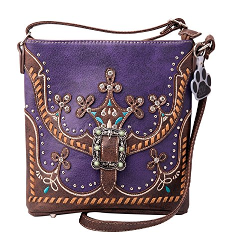 Collection Leather Small Messenger (HW Collection Western Blue Stone Rhinestone Buckle Concealed Carry Crossbody Handbag (Purple))