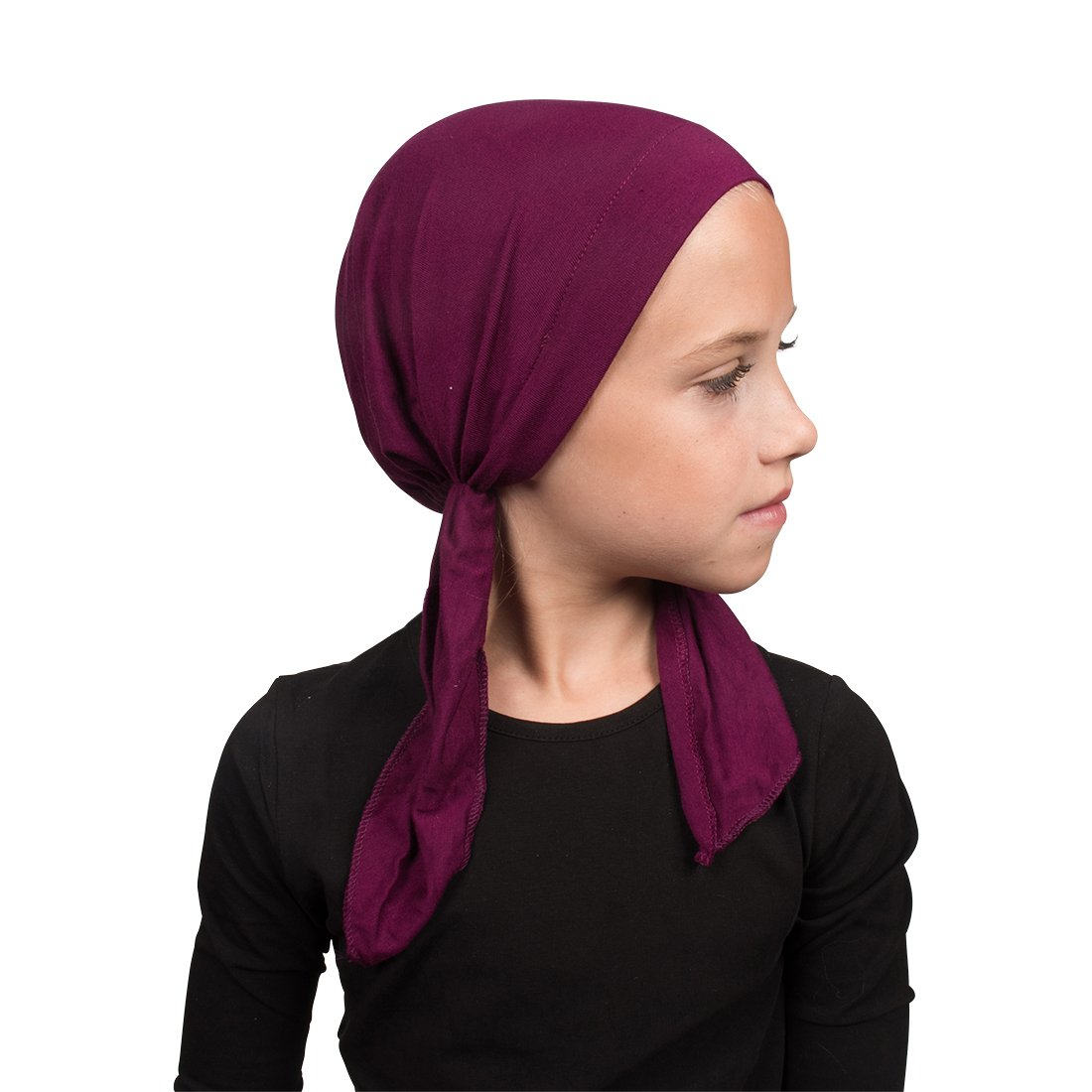 Purple Viscose Kids Chemo Cap Pretied for Girls Soft Cancer Scarf