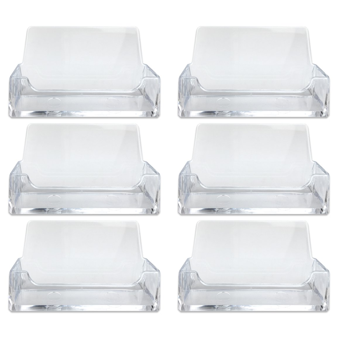 Beauticom (Quantity: 6 Piece) Clear Acrylic Single Compartment Desktop Business Card Holder Display Stand OP-35358