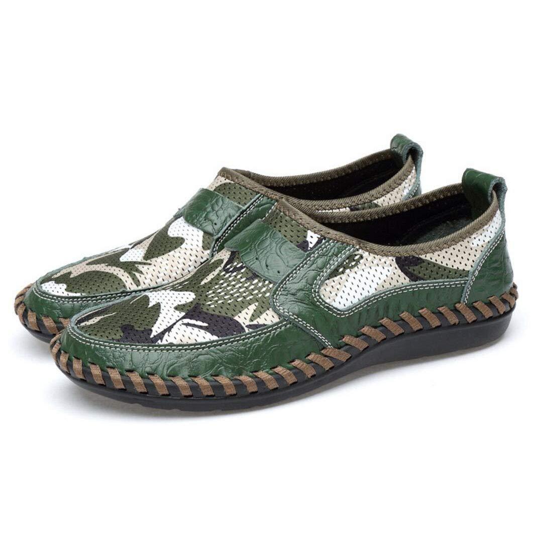 YAN Herren Loafers Schuhe Leder Net Driving Schuhe Niedrig-Top Atmungsaktive Freizeitschuhe Casual Party & Abend im Freien
