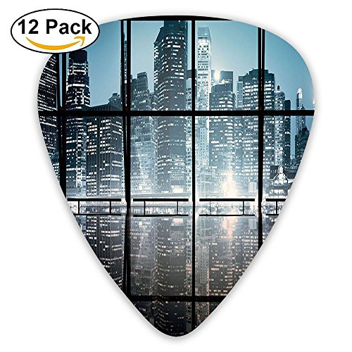 Newfood Ss Modern New York City Scenery At Night With Skyscrapers Buildings Guitar Picks 12/Pack Set