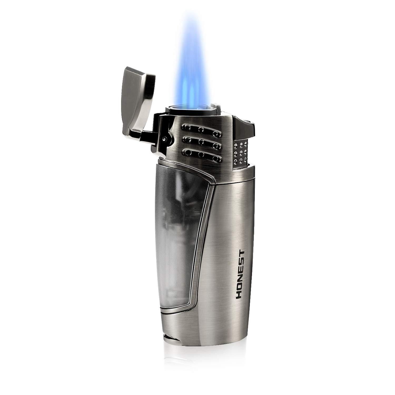 Sturmfeuerzeug,Jet Flamme gasFeuerzeug Zigarren Mit Zigarrenschneider, Nachfüllbare Gas-Sturmfeuerzeug, Pfeifenfeuerzeug