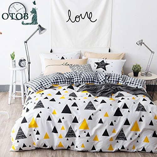 ORUSA Gingham White Queen Duvet Cover Set Black Yellow Triangles Full Duvet Cover with 4 Corner Ties Bedding Set for Kids Adults, Style - Queen Duvet Black
