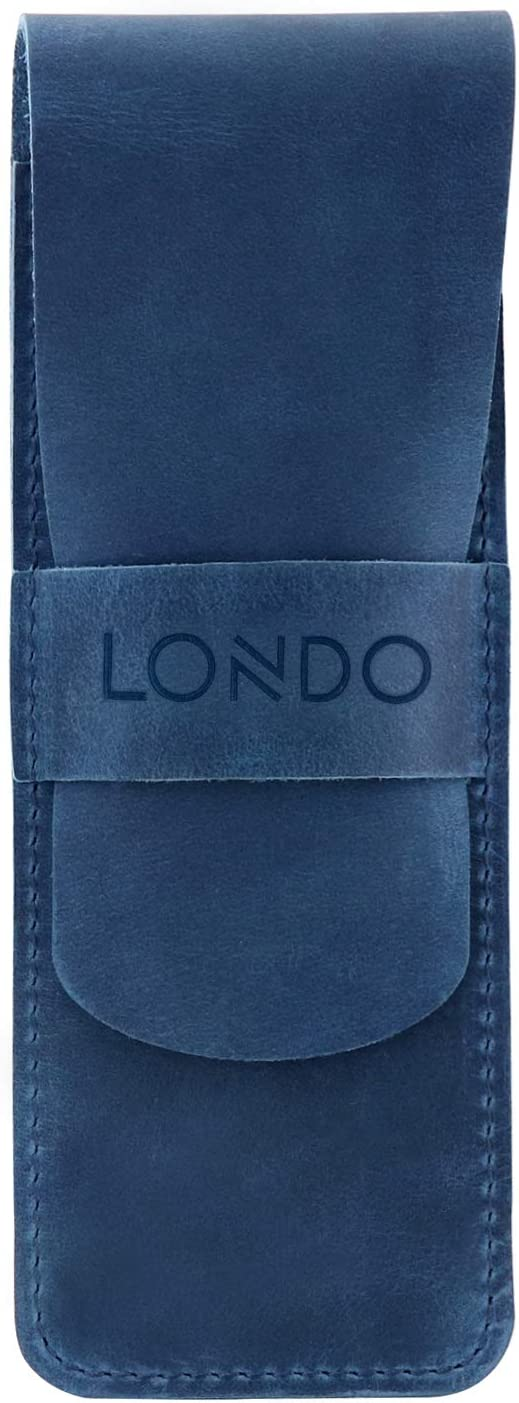 Londo Genuine Leather Pen Case with Sleeve Cover, Pencil Pouch Stationery Bag (Blue)