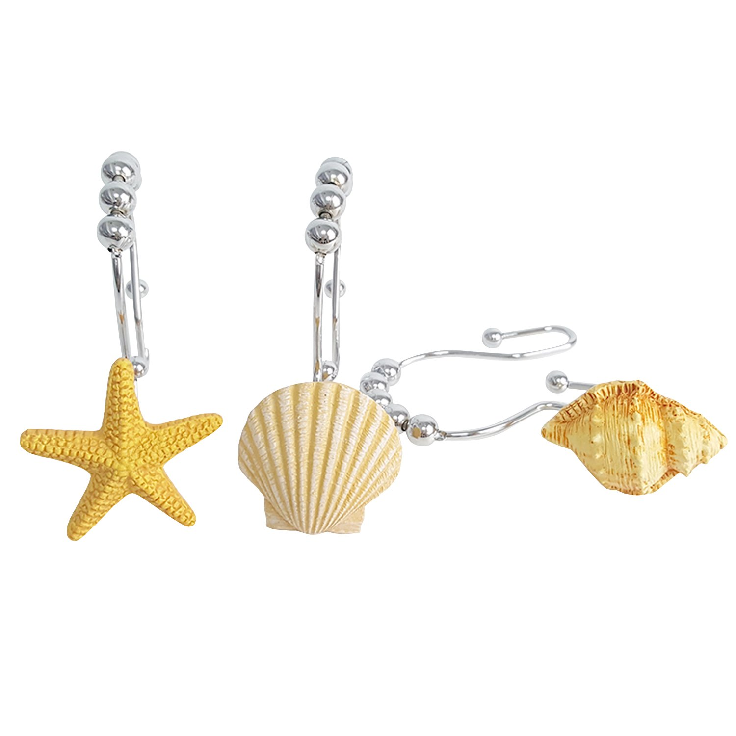 Chictie Shell Stars Roller Balls Shower Curtain Hooks Double Glide Rings Set for Bathroom Linen 100% Stainless Steel Metal Hanger (Yellow shell starfish conch 12 pieces set)