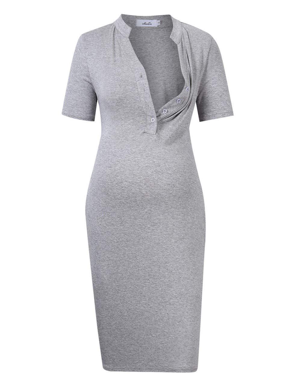 MissQee Maternity Dress Women's Nursing Nightgown for Breastfeeding Sleepwear Light grey L