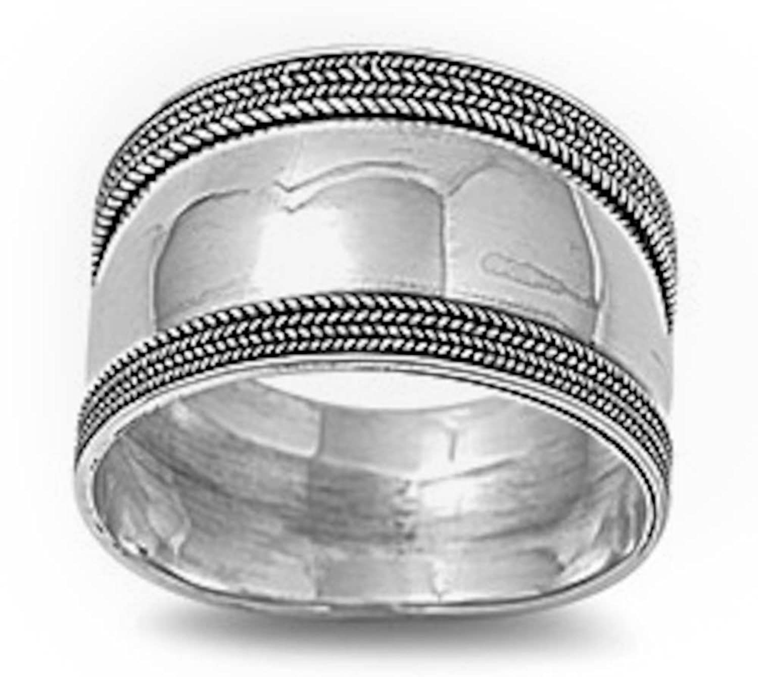 Solid Braided Bali Wide Band .925 Sterling Silver Ring Sizes 5-12