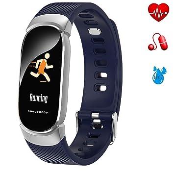 LIGE Montre Connectée Fitness Trackers,Bracelet Intelligent avec Moniteur de fréquence Cardiaque,Imperméable Tracker