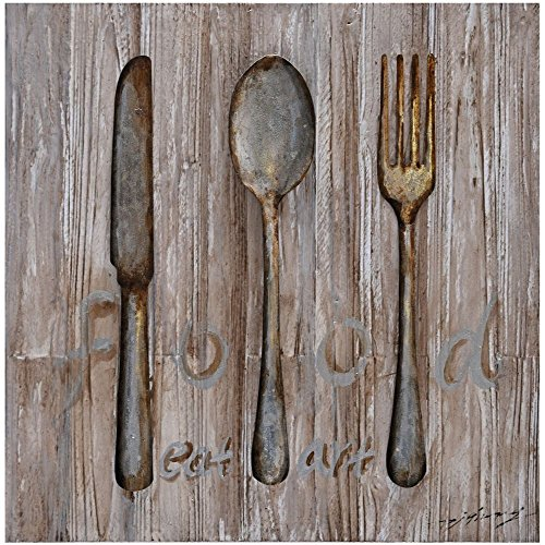 wood fork and spoon wall art - 1