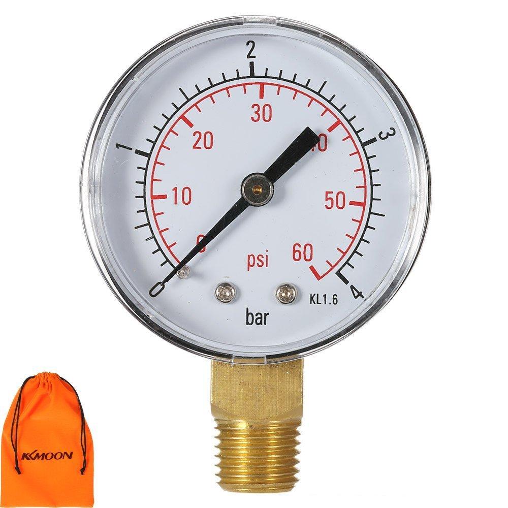 """KKmoon - Contatore-manometro, misura la pressione del filtro piscine, quadrante da 50 mm, 0 ~ 15 psi / 0 ~ 1 bar, connessione NPT 1/4"""" connessione NPT 1/4"""" VBPUKAIAZALLA1178"""