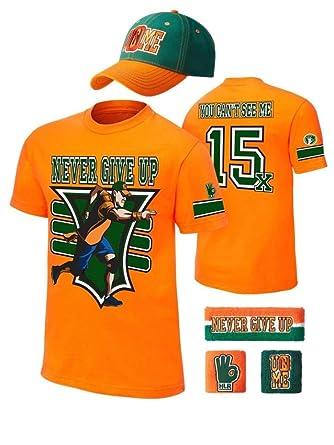 amazon com john cena kids 15x orange costume hat t shirt wristbands