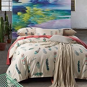 Amazon Com Sisbay Fashion Feather Print Bed Set Unique