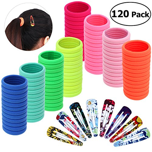 Frcolor Elastic Hair Ties and Snap Hair Clips Kit - Rope Ponytail Holders 100 Pieces, 20 Pieces Flower Printed Snap Hair Clips for Women
