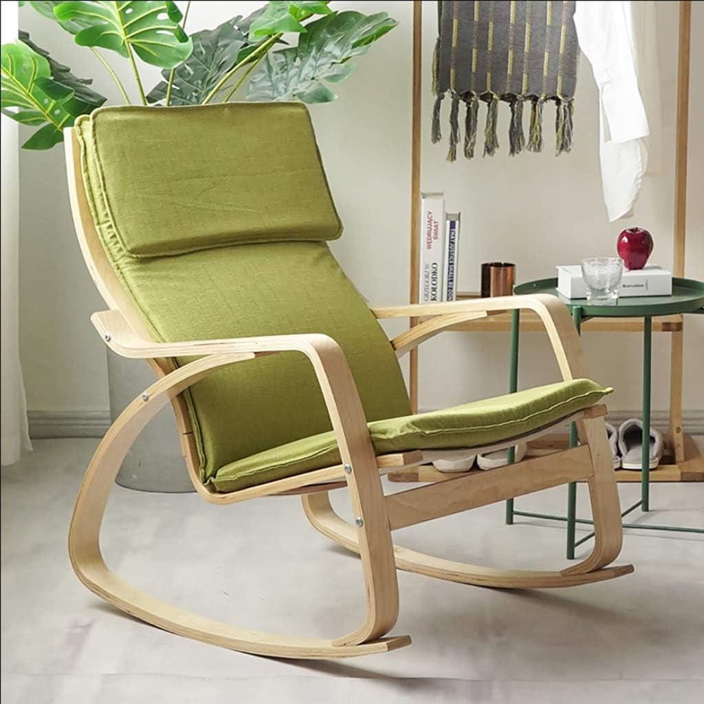 快適な木製のロッキングチェア、居間、寝室および屋内のための柔らかい枕スリップ防止マット、ラウンジチェアは家具/屋外/ポーチの中の綿織物のクッションが付いている椅子を緩めます (Color : Green)