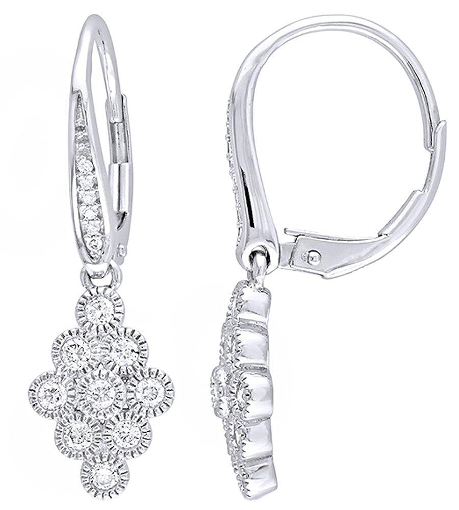 Weißszlig; natürlicher Diamant Vintage Stil Multi Kreis Drop Ohrringe in 14 ct 585 Weißszlig; Gold massiv (0,5 cttw 14 Karat (585) WeißGold