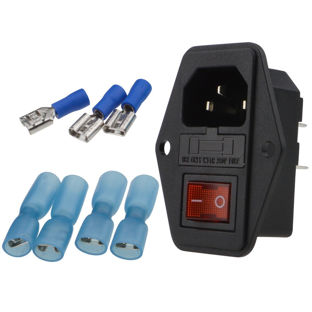URBEST Male Power Socket 10A 250V Inlet Module Plug 5A Fuse Switch with 7Pcs Female 16-14 AWG Wiring Spade Crimp Terminals S20180705