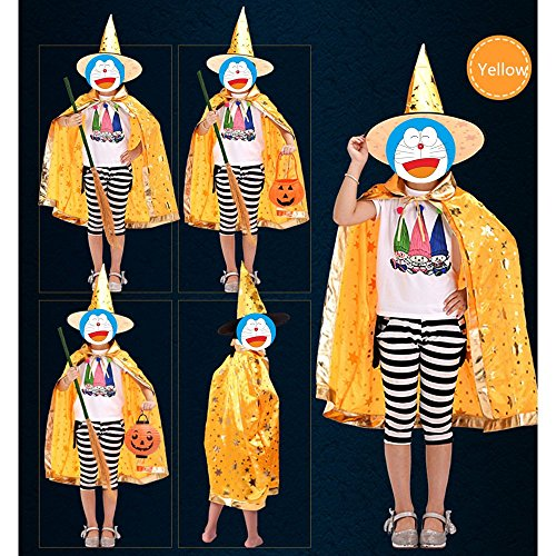 Halloween Wizard Cape/Lil Wizard Cape and Hat Child's Costume, Medium(Suitable for children of 110CM to (Japanese Doll Makeup Halloween)