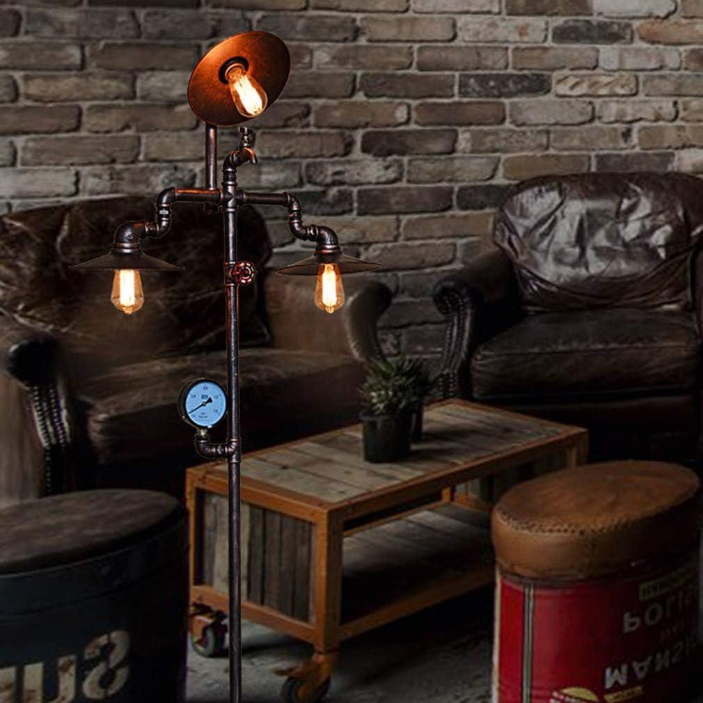 Fer Forg/é et Lampadaire En Cuivre Antique E27 Lampe Sur Pied Industrielle 3 T/êtes Tuyau Deau Cr/éatif Grande Lampe pour Salon Chambres Bureau Bar Caf/é Restaurant BXZ Lampadaire R/étro Vintage