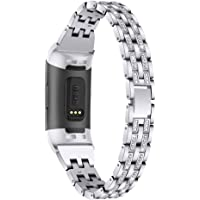 Chic Bling Bands Compatible with Fitbit Charge 4/Charge 3/Charge 3 SE Fitness Tracker,Rhinestone Dressy Bracelet…