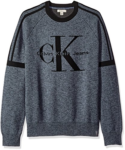 Calvin Klein Jeans Men's Vintage Logo Crew Neck Sweatshirt, Light Indigo, MEDIUM