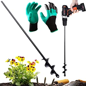 """Gesoon Auger Drill Bit 1.6"""" x 18"""", Garden Plant Flower Bulb Auger with Garden Genie Gloves, Earth Auger Bit, Fence Post or Umbrella Hole Digger for 3/8"""" Hex Drive Drill - Bulb & Bedding Plant Auger"""