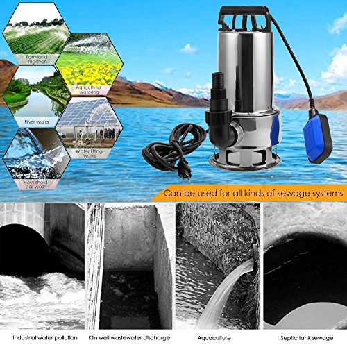 ThinIce 1.5 HP Stainless Steel Submersible Sump Pump Clean Dirty Water Pump with 15ft Cable and Float Switch 1100W (US STOCK) by ThinIce (Image #6)