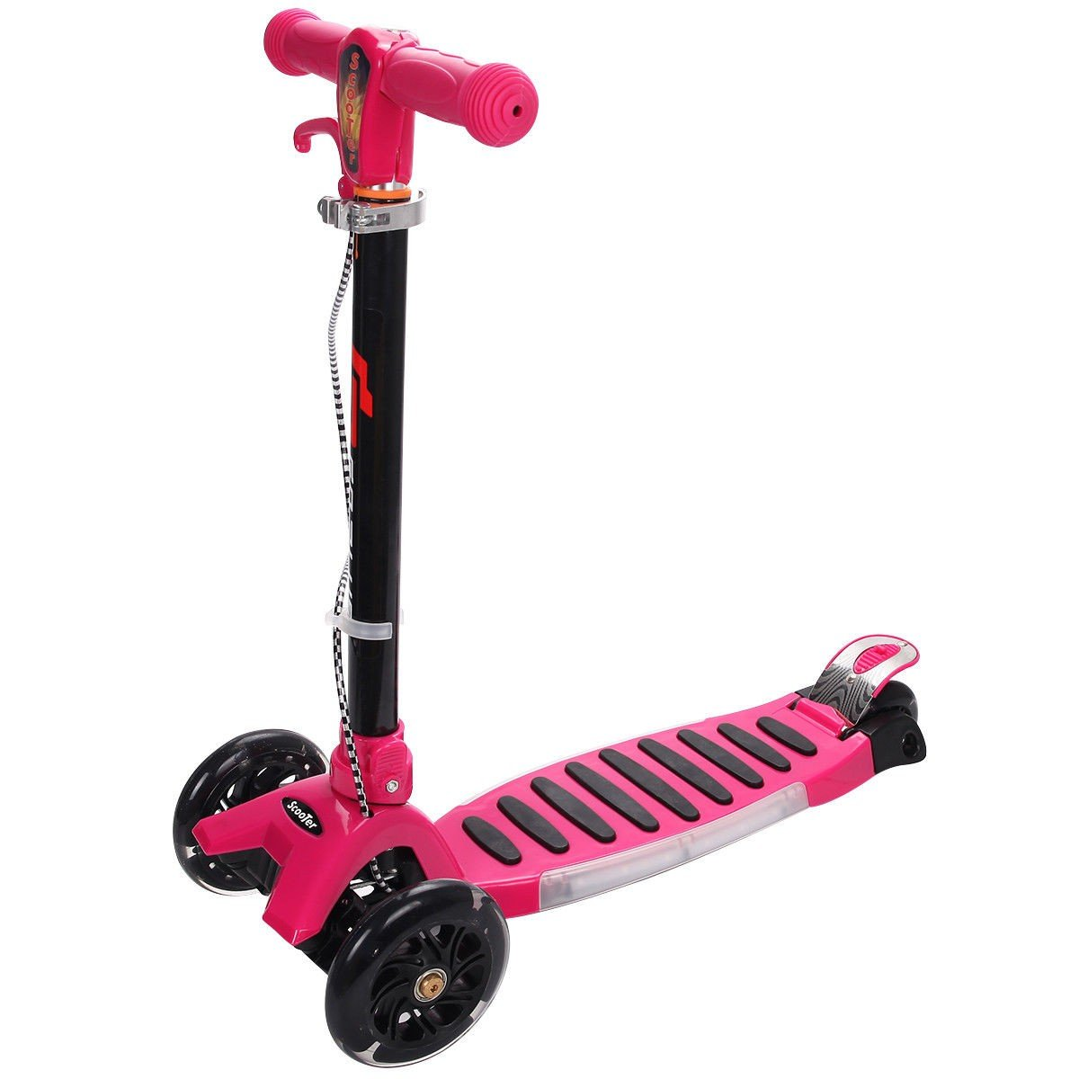 MD Group Kids Kick Scooter Folding Rose Aluminum Adjustable Height 3-Wheel Music with LED