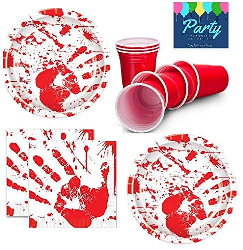 Zombie Party Supplies - Halloween Party Bloody Handprints - Party Pack for 16 Guests Including: Large Plates, Napkins & Cups (Halloween Paper Decorations)