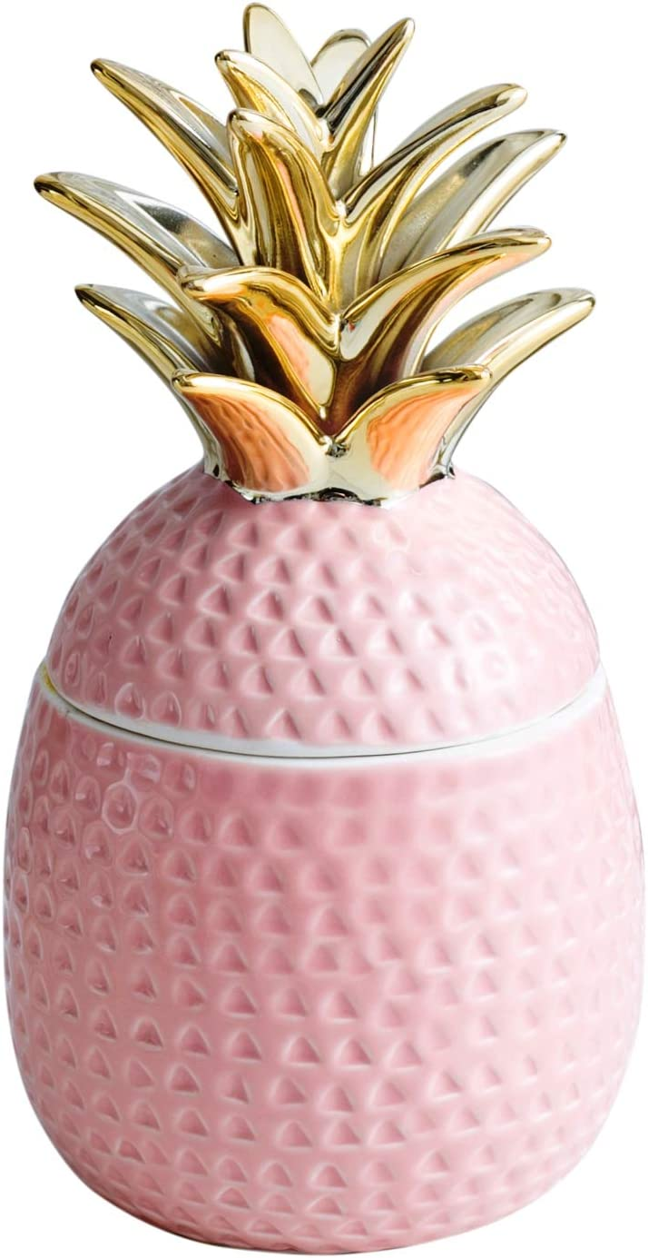 "Jojuno 9"" Ceramic Pineapple Centerpiece Decor Ananas Ceramic Candy Cookie Storage Jars, Figurine for Birthday Party Modern Coffee Desk Table Room Kitchen Home Girls Baby Bedroom Decorative (Pink)"