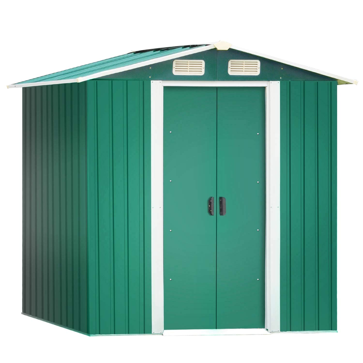 Leisure Zone Garden Metal Large Outdoor Shed -Patio Tool Lockable Storage Roofed Shed with Free Base & Double Easy Sliding Doors, Weatherproof Apex Roof 5 Years Warranty (6 x 4)