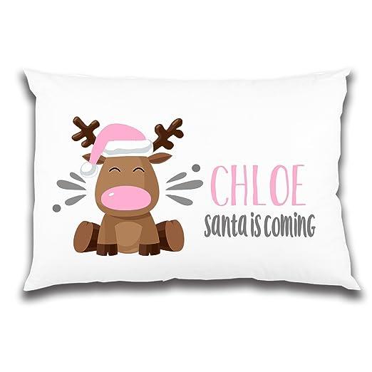 Personalizado Rosa Reno Funda Para Almohada De Navidad