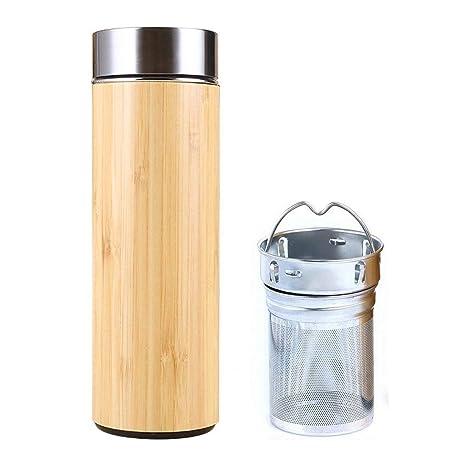 SLOSH Botella Termica Té Acero Inoxidable Infusor Taza Viaje Café Té Bambú Travel Mug Thermos Agua Filtro Infusione Sin Bpa Termo Teteraté Embolo ...